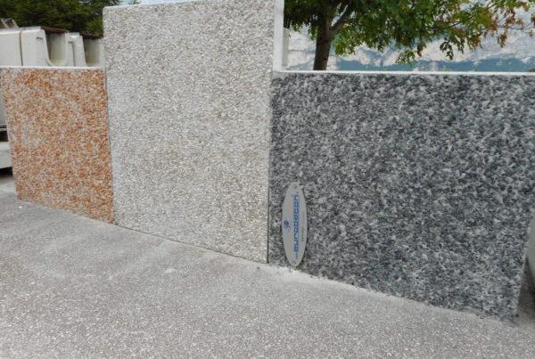 003 1 600x403 - Muretti prefabbricati con rivestimento in ciottoli dolomitici arredo-urbano