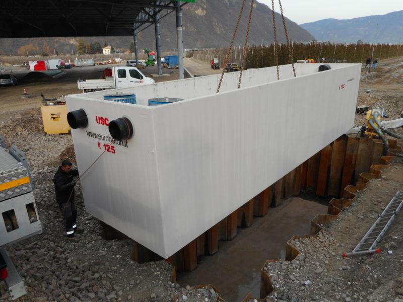 Laives: Posa di separatore gigante da 125 litri al secondo in zona di falda acquifera