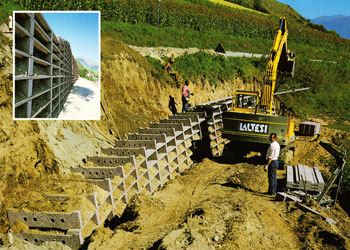 kreinerwand - Krainerwand retaining walls up to 12 mt. with vegetation, reinforced earth type urban-decor