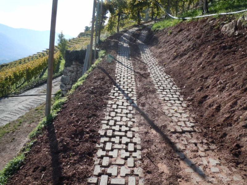 termeno - settembre 2011: posa piastre tipo euro-garden su strade per vigneti